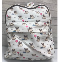 A charming little fabric backpack covered with an adorable pug print