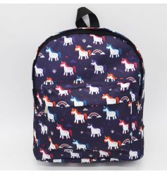 Travel around in style with this quirky unicorn themed printed rucksack