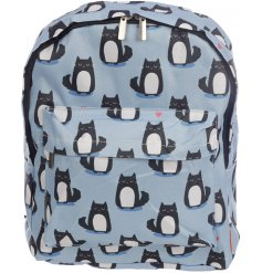 Travel around in style with this quirky cat themed printed rucksack