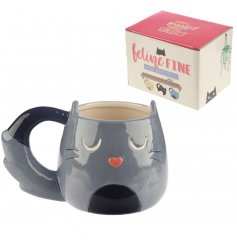 A quirky cat themed mug with an added bushy tail handle for effect!