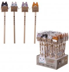 A fun feline themed assortment of pencils topped with cute kitties in boxes styled erasers