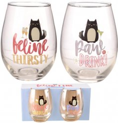 Sip your cocktails in style with these fabulous feline themed Glass Tumblers
