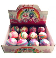 A soft and squishy foam ball covered in pretty pink unicorn patterns