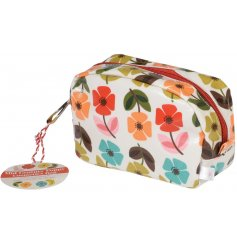A Mid Century Poppy Print Make Up Bag