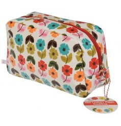 A Mid Century Poppy Design Oilcloth Wash Bag