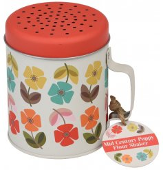 A Mid Century Poppy Print Flour Shaker