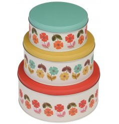 Keep all your delicious baked goodies fresh with this charmingly colourful set of sized nesting tins.