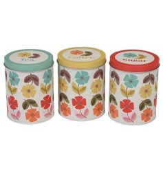 Add a splash of summer to you kitchenware with this assortment of colourfully printed Tea, Coffee and Sugar cannisters