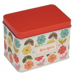 This quirky metal recipe tin will be perfect for bringing a splash of colour to any bakers kitchen!