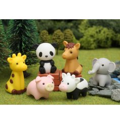 Bring an adorable touch to writing and stationary sets with this sweet assortment of Character Erasers inspired by Zoo