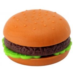 Dont be fooled! This delicious looking hamburger is actually a funky pencil eraser!