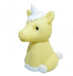 A mystical and magical Unicorn Character eraser in a bright purple tone, perfectly topped with an enchanting horn