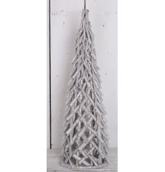 A stunning grey washed wooden Christmas tree with a silver glitter finish.