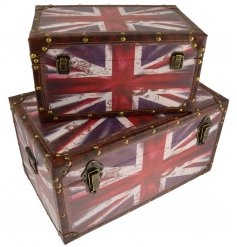 Set with distressed charm and patriotic Union Jack print, these stylish English Flag inspired storage trunks