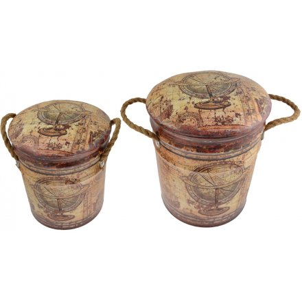 Introduce a rustic living inspired edge to any Country Home themed decor with this assorted set of sized storage stools