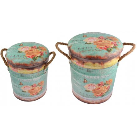 Introduce a delicate shabby chic inspired edge to any themed decor with this assorted set of sized storage stools
