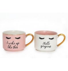 A mix of 2 chic mugs with gold handles and a pretty eyelash design. Each has a different glamorous slogan.