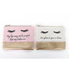 A mix of 2 pretty cosmetic bags in pink and cream designs with a gold trim. Each has a glamorous slogan and eyelashes