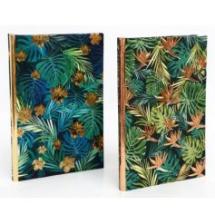 A stylish assortment of tropical leaf printed notebooks complete with added golden and copper decals