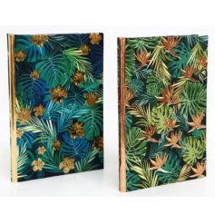 A chic assortment of hardback notebooks complete with a beautiful on-trend Tropical Leaf decal