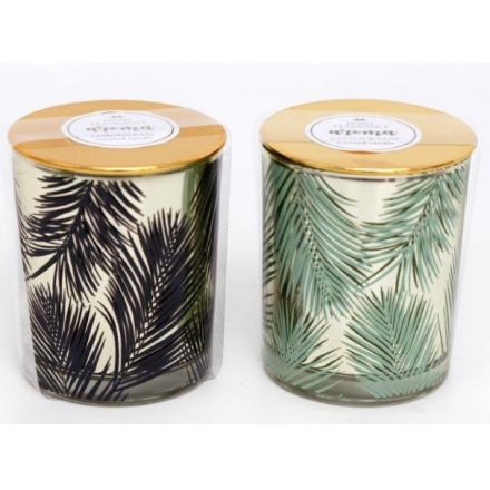 Golden Leaf Scented Candle Pots 7.5cm