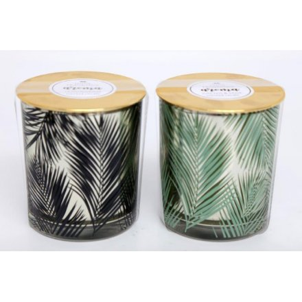 Golden Leaf Scented Candle Pots, 10cm