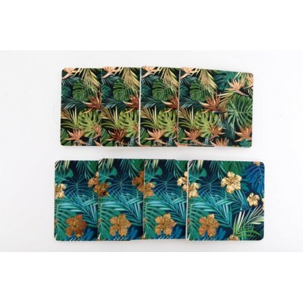 Golden Leaf Square Coasters