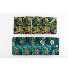 A stylish assortment of tropical leaf printed cork coasters complete with added golden and copper decals