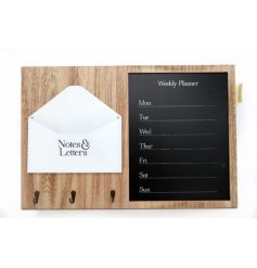 Set with a smooth natural wooden finish, this large Wall decoration is perfect for keeping all your loose items safe in