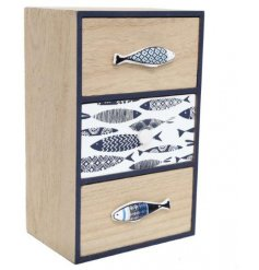 This fish themed wooden draw set will be sure to place perfectly in any Nautical inspired home decor or display