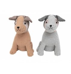Adorable little sitting doggy doorstops, set with tartan print eye patches and soft tweed ears