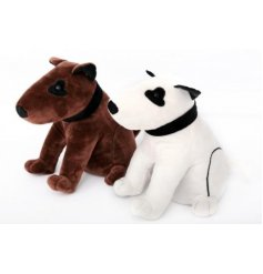 A cute and cuddly soft doorstop in the shape of friendly sitting dog