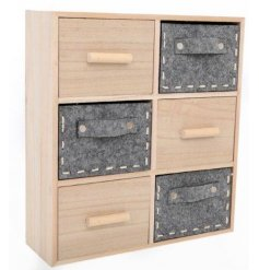 Bring a trending touch to any themed interior needing a fresh look with this stylish set of wooden cabinet draws