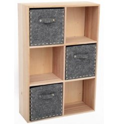Bring a trending touch to any themed interior needing a fresh look with this stylish set of wooden cabinet draws/shelve