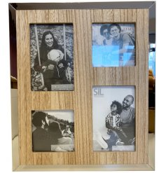 A chic natural wooden picture frame complete with a silver mirrored edge effect and 4 space design