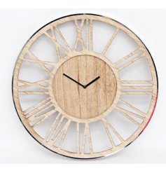 A contemporary clock made from wood with laser cut roman numerals and contemporary hands. Complete with a silver frame.