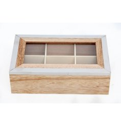 A contemporary natural wooden and silver storage box with multi-compartments.