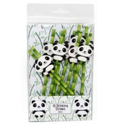 A pack of 10 paper straws in a bamboo design, perfectly topped with a decorative panda