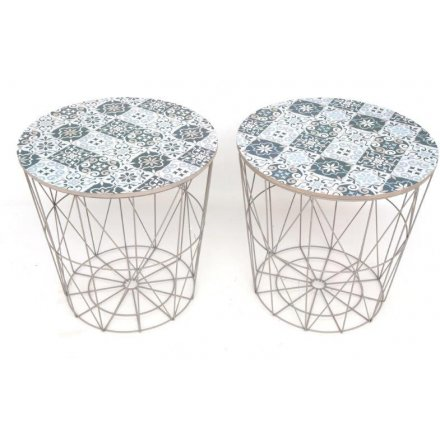 Tile Print Geometric Side Tables, 2ass