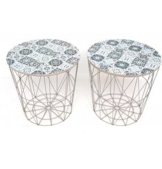 Designed with their Geometric wire bases and charmingly distressed patterned tops