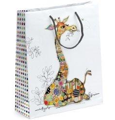 A large Bug Art Gerry Giraffe Design Gift Bag