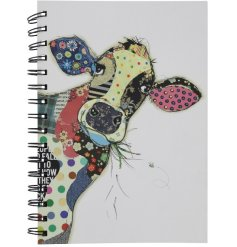A colourful patchwork cow A6 notebook from the popular Bug Art range.