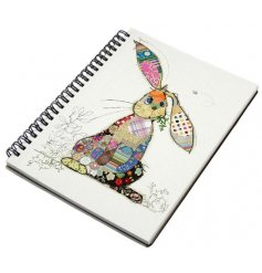 A colourful patchwork rabbit notebook from the popular Bug Art range.