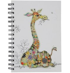 A unique and stylish Giraffe collage style notebook. A great gift item.