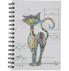 A unique cat design notebook with a colourful collage cat illustration.