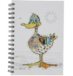 An A6 Notebook with a quirky collage duck design illustration. A unique gift item.