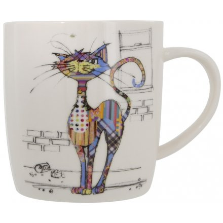 A Bug Art Cola Cat China Mug