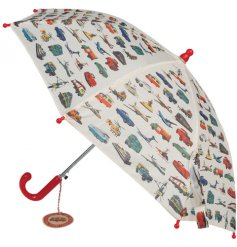 A charming vintage transport design umbrella with a red plastic handle and top.