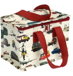 A charming vintage transport design lunch bag which is insulated. Perfect for picnics on the go and school lunches.