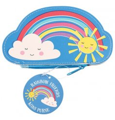 A colourful and cute rainbow friends mini purse with a smiling cloud and sunshine. A lovely gift item.